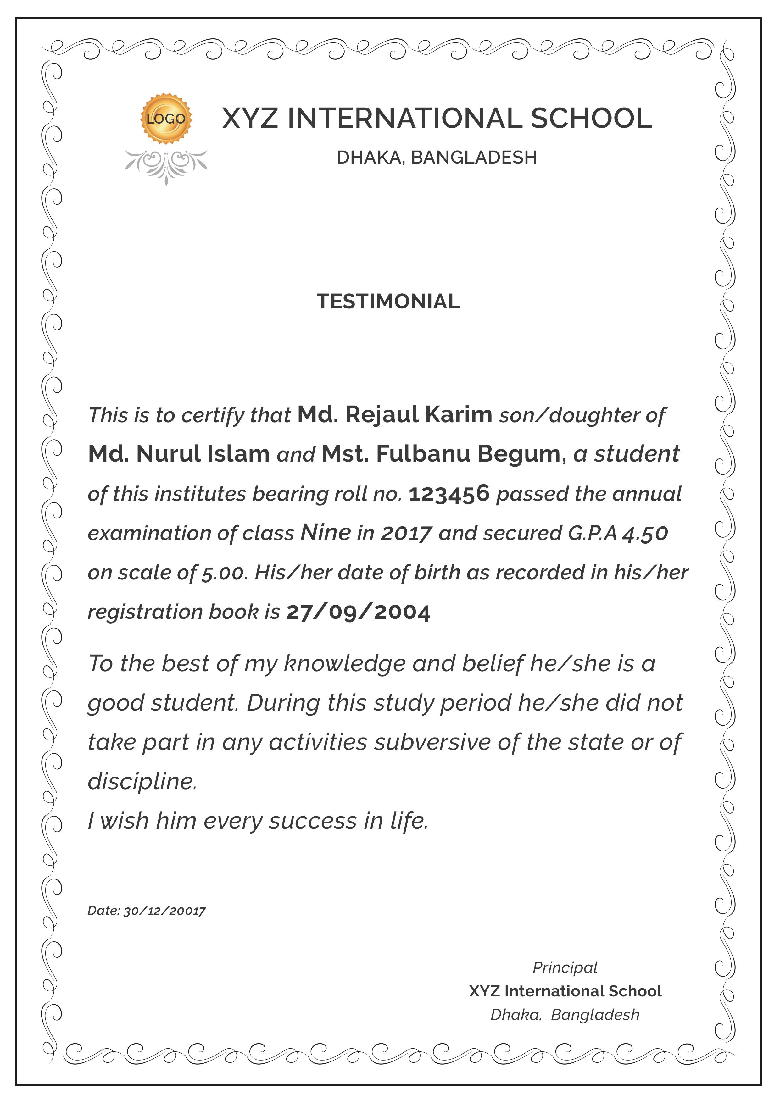 Printable Testimonial